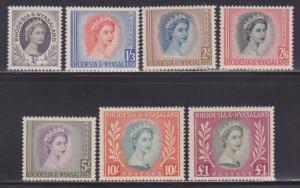 Rhodesia & Nyasaland 149-155 VF-MLH set nice colors scv $ 100 ! see pic !