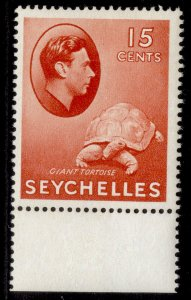 SEYCHELLES GVI SG139ab, 15c brown-red, LH MINT. Cat £10. ORDINARY