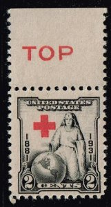 US STAMP #702 – 1931 2c RED CROSS SHIFT UP ERROR STAMP MNH/OG
