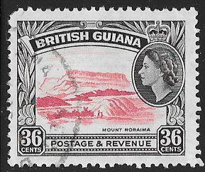 British Guiana 262 Used - Mount Roraima - Elizabeth II