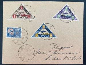 1922 Kaunas Lithuania Early Airmail cover To Latvia Sc#C15-C17