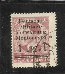 MONTENEGRO 1943 OCCUPAZIONE TEDESCA SOPRASTAMPATO DI JUGOSLAVIA YUGOSLAVIA OV...