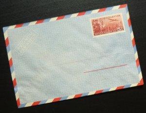 Yugoslavia c1950 Unused Airmail Postal Stationery Envelope - 5 Dinars R! A4