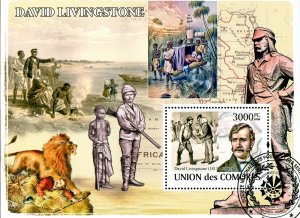 Comoro Islands Stamps Sc#1060 - (2008) - S/Sheet - David Livingstone - Cancelled