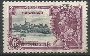 SWAZILAND, 1937, MH 6p, Silver Jubilee, Scott 23