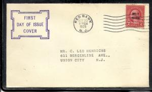 US #646 Molly Pitcher Unknown cachet addressed fdc Redbank #6