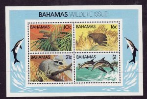 Bahamas-Sc#517a-unused NH sheet-Raccoon-Bats-Dolphins-1982-