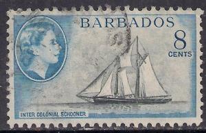 Barbados 1953 - 61 QE2 8ct Inter colonial Schooner SG 295 ( F1103 )