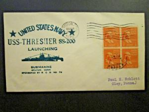 United States 1940 USS Thresher Launching Cover - Z4692