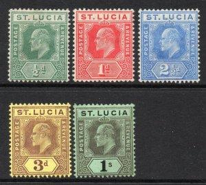 St Lucia 1904 EDVII new colours p/set wmk MCCA mint