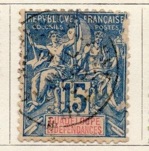 Guadeloupe 1892 Tablet Type Early Issue Fine Used 15c. 050833