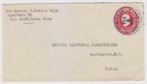 COSTA RICA 1933 PS COLUMBUS 10c ENVELOPE SAN JOSE TO WASHINGTON, DC VF