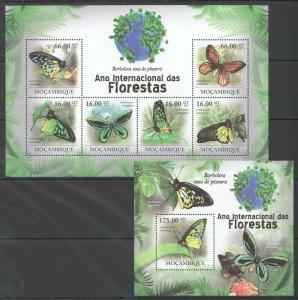 BC1261 2011 MOZAMBIQUE FAUNA FLORESTAS BUTTERFLIES BORBOLETAS ASAS KB+BL MNH
