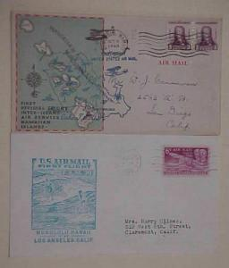 HAWAII COVER FLIGHTS 1934 OCT 8 & 1950 OCT 10 CACHETED
