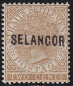 1881-2 Malaya Selangor 2c Brown with SELANGOR O/P narrow letters type 3, SG 3 MH
