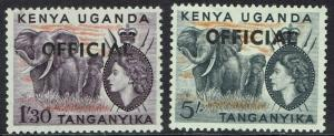 KENYA UGANDA & TANGANYIKA 1959 OFFICIAL QEII ELEPHANTS 1/3 AND 5/- MNH **