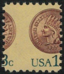 MALACK 1734 13c Penny, Misperfed OG NH, very nice ww1595