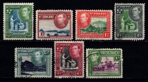 St Vincent 1938-47 George VI definitives (£, s & d), Part Set [Used]
