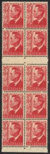 Australia 1951 KGVI 3d Red Uncut Booklet Pane MUH