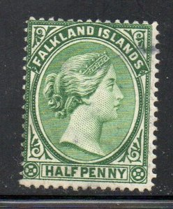 Falkland Islands Sc 10 1899 1/2d yellow green Victoria stamp used