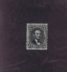SC# 98 UNUSED ORIGINAL GUM H 15 CENT LINCOLN, 1868, 2016 PSAG CERT.