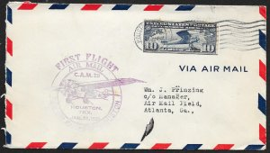 UNITED STATES #C10a on First Flight Cover 1929 Houston to Atlanta