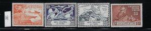 KENYA-UGANDA-TANGANYIKA SCOTT #94-97 1949 UPU ISSUE- MINT  HINGED