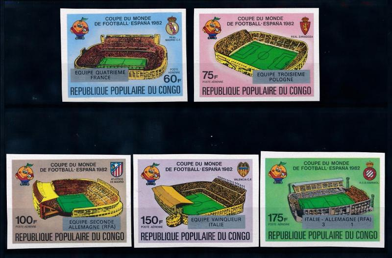 [69425] Congo Brazzaville 1982 World Cup Football Soccer OVP Silver Imperf. MNH