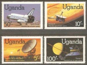 UGANDA Sc# 337 - 340 MNH FVF Set4 Space Shuttle Satellite Voyager & Pioneer 2