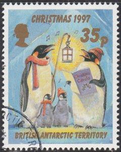 British Antarctic Territory 1997 used Sc #250 35p Penguins caroling Christmas