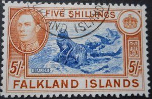 Falkland Islands 1938 GVI 5/- SG 161 used
