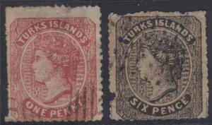 BC TURKS ISLANDS 1867 QV Sc 1 & 2 FORGERIES MUTE CANCELS (CV$207.50)