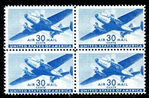 U.S. Scott C30 30-Cent Transport Airmail F MNH Block of 4