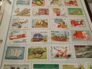 Vietnam stamp lot years vary 2 pages front back
