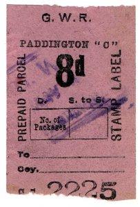 (I.B) Great Western Railway : Prepaid Parcel 8d (Paddington)