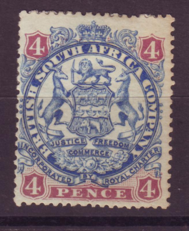 J17054 JLstamps 1896 rhodesia mhr #30 coat of arms