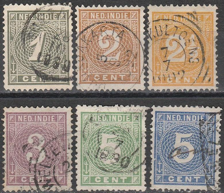 Netherlands Indies #17-22  F-VF Used CV $29.15  (A16638)