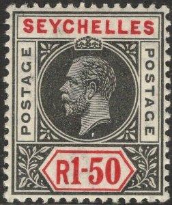 SEYCHELLES-1913 1r50 Black & Carmine Sg 80 LIGHTLY MOUNTED MINT V50072