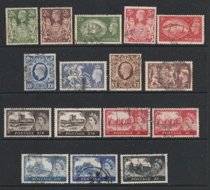 Great Britain a small lot of used KGVI & eaely QE2 high vals.