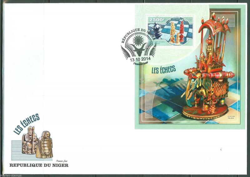 NIGER  2014  CHESS PIECES SOUVENIR  SHEET FIRST DAY COVER