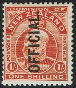 NEW ZEALAND 1910 OFFICIAL KEVII 1/-
