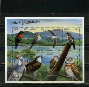 UGANDA 1999 BIRDS SHEET OF 8 STAMPS MNH