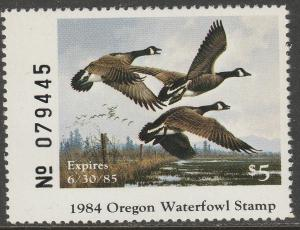 U.S.-OREGON 1, STATE DUCK HUNTING PERMIT STAMP. MINT, NH. VF