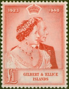 Gilbert & Ellice Is 1949 RSW £1 Scarlet SG58 Superb MNH