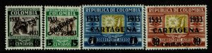 Colombia SC# C111-C114, Mint Hinged, Hinge/Mount Rem, minor creasing - S10316