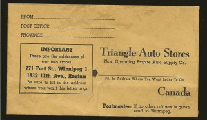 Canada Vintage Triangle Auto Stores Canada Advertising Envelope Cover