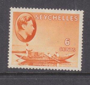 SEYCHELLES, 1938 KGVI 6c. Orange, heavy hinged.