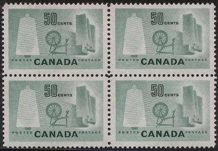 Canada USC #334 Mint Block of Four 50c Textile Cat. $20 VF-NH