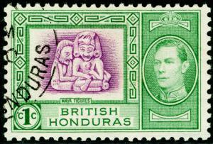 BRITISH HONDURAS SG150, 1c bright magenta & green, FINE USED.