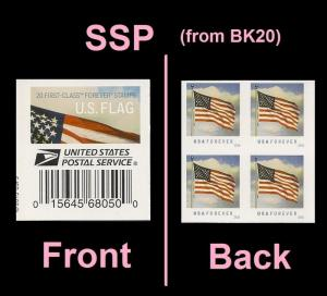 US 5054 Flag forever label block (from SSP Booklet of 20) MNH 2016